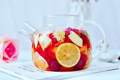 水果热花茶