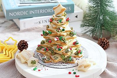 抹茶奶油夹心圣诞树饼干