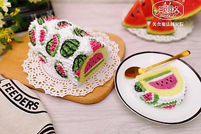西瓜慕斯蛋糕卷,彩绘蛋糕卷