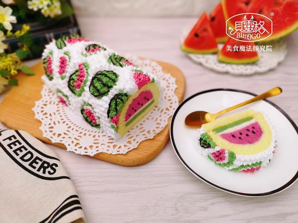 西瓜慕斯蛋糕卷,彩绘蛋糕卷的做法
