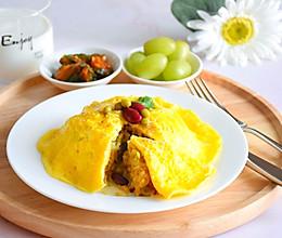 蛋包红豆青豆米饭的做法