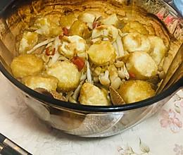 日本豆腐海鲜菇烩花甲的做法
