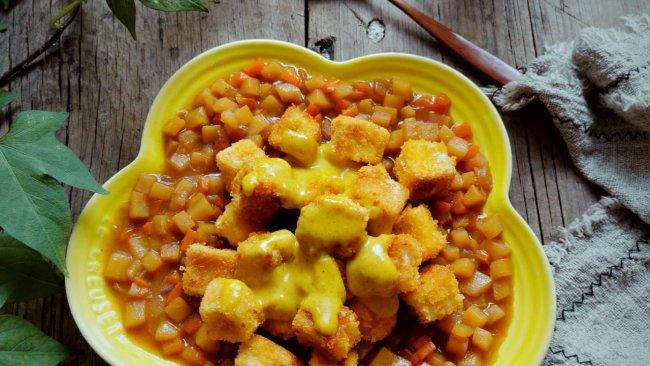 #少盐饮食 轻松生活#咖喱脆皮豆腐的做法