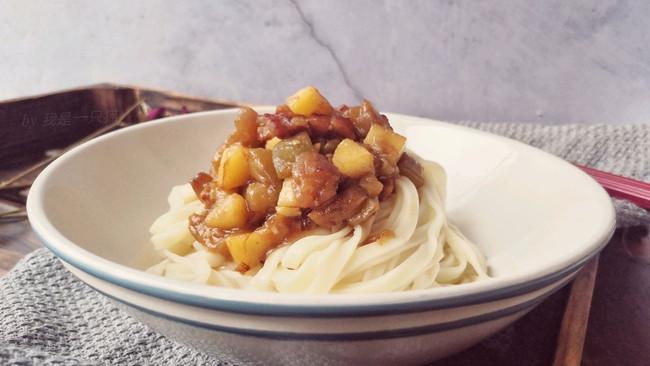 #花10分钟,做一道菜!#茄丁五花肉打卤面的做法