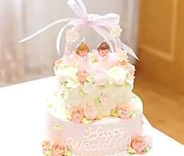 花篮蛋糕(含裱花、编花篮、双层蛋糕固定方法)的做法