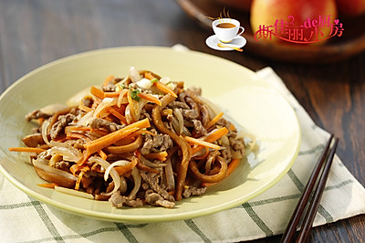 千叶豆腐炒牛肉丝