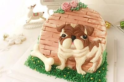 狗狗3D手绘立体场景蛋糕