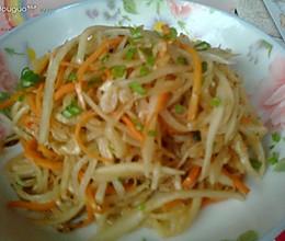 虾米素炒萝卜丝的做法