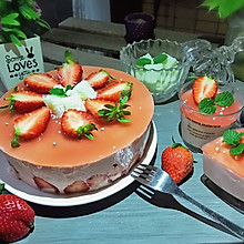 #节后清肠大作战#草莓慕斯抹茶蛋糕8寸