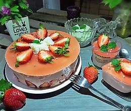 #节后清肠大作战#草莓慕斯抹茶蛋糕8寸的做法