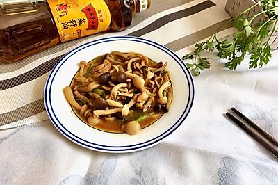 肉炒双菇#金龙鱼外婆乡小榨菜籽油 最强家乡菜#