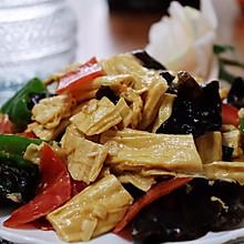 #人人能开小吃店#腐竹炒木耳 | 味美营养低脂素菜健康