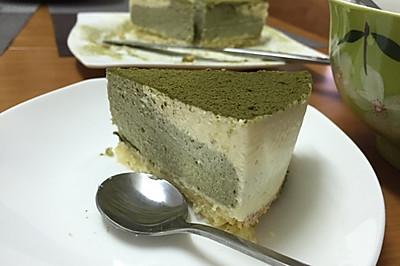 超简单的抹茶芝士蛋糕(无烤箱冰箱冻芝士)