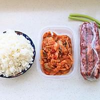 #美食视频挑战赛# 懒人辣白菜香肠炒饭的做法图解1