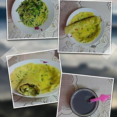 葱花鸡蛋卷+营养黑芝麻豆浆