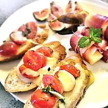 #快手早餐#番茄罗勒法棍三明治+蜜瓜火腿卷+无花果色拉