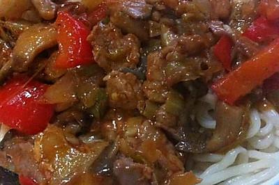 新疆过油肉拌面
