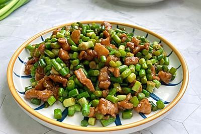 超级下饭的简单快手的蒜苔炒肉末