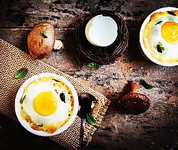 奶油蘑菇焗烤蛋盅——超简单美味又小资的西餐的做法