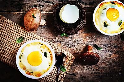 奶油蘑菇焗烤蛋盅——超简单美味又小资的西餐