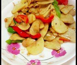 双椒爆炒土豆杏鲍菇(创意菜)的做法