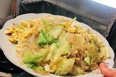 速炒:鸡蛋粉丝圆白菜
