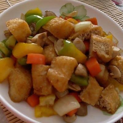 口蘑烧炸豆腐