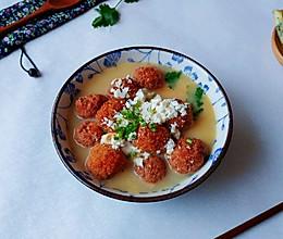 椒芫咸蛋豆腐丸的做法