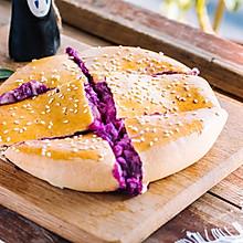 爆浆紫薯芝士饼