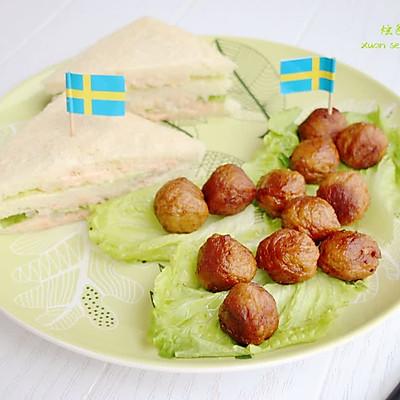 下午茶小食~三文鱼三明治配瑞典肉丸