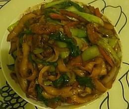油菜肉类炒面的做法