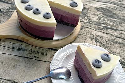 【免烤蛋糕】蓝莓渐变冻芝士蛋糕蓝莓慕斯