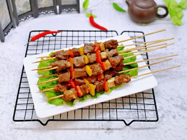 彩椒烤牛肉串的做法