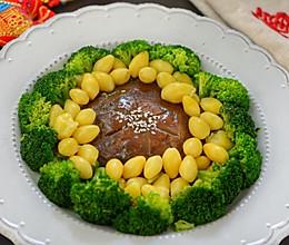 年夜饭花开富贵-白果蘑菇西兰花#好彩头#的做法