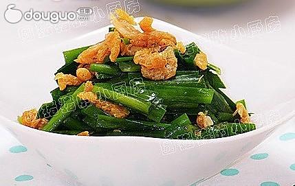 夏季消食 虾米拌韭菜的做法