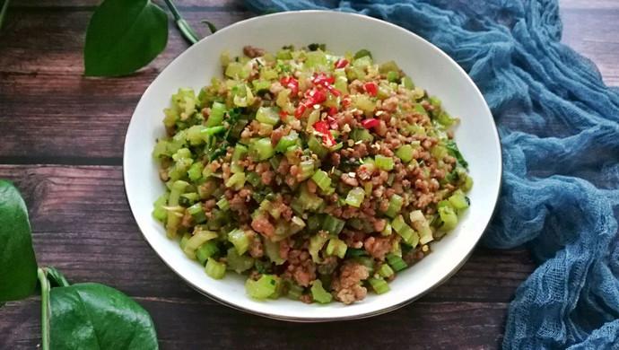 香芹炒肉末#花10分钟,做一道菜!#