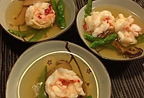 松茸鸡汤煨牡丹虾球的做法