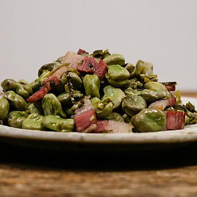 咸肉雪菜炒蚕豆|美食台