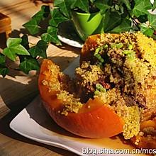 排骨这样做,营养美味还好看--小米排骨南瓜盅