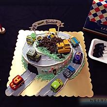 公路场景小汽车生日蛋糕#相约MOF#