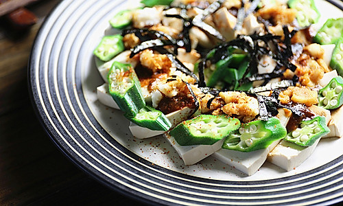 秋葵山药拌冷豆腐的做法