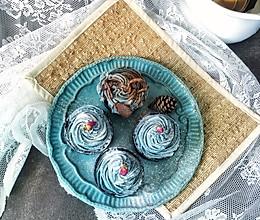 蝶豆花奶油霜竹炭蛋糕cupcake的做法