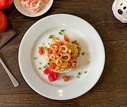 #好吃不上火#美味又美丽的蕃茄鸡蛋虾盖饭的做法