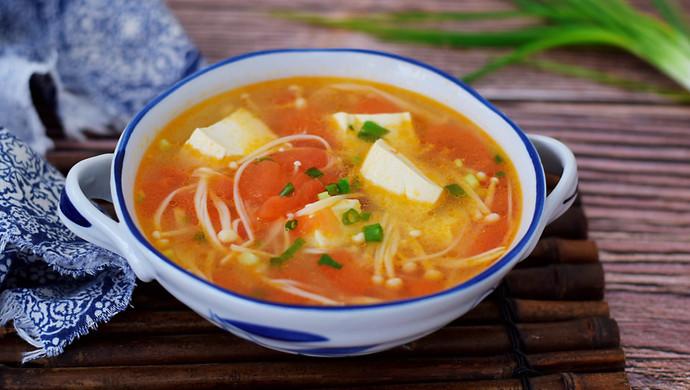 番茄金针菇豆腐汤