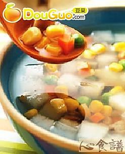 金玉玉米瓜丁汤的做法