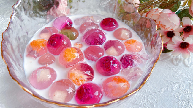 夏日必备 Q弹的椰奶水果弹珠的做法