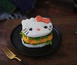 K丅猫米饭鸡排汉堡的做法