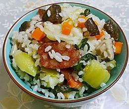 香菇腊肠胡萝卜菜饭的做法