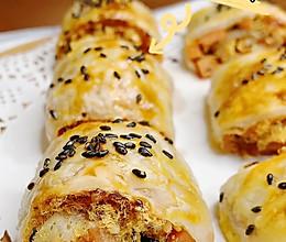#美食视频挑战赛#手抓饼的花样吃法(酥皮火腿肉松卷)的做法