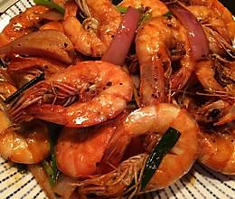 黑椒油焖大虾的做法